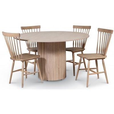 Pose spisegruppe: Bord Ø130 cm inkludert 4 stk pinnestoler - Whitewash