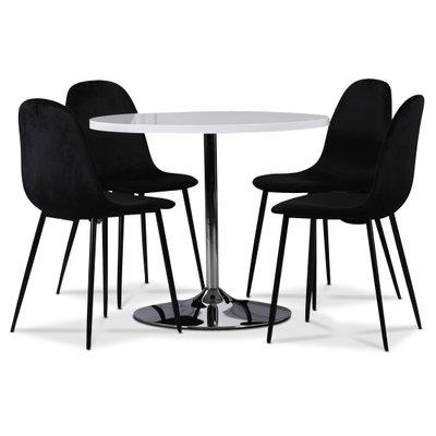 Tiana spisegruppe, rundt spisebord med 4 stk Ca.risma fløyelsstoler - Hvit/Svart