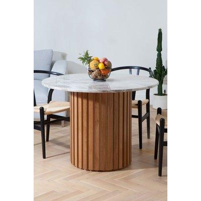 Matisse rundt spisebord i marmor - Eik (Lameller) / Marmor