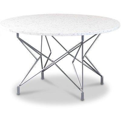 Terrazzo rundt sofabord Ø 80 cm - Bianco Terrazzo & underdel Star krom
