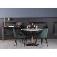 Plaza spisegruppe, marmorbord med 4 st Theo fløyelstoler - Grønn/Hvit/Messing