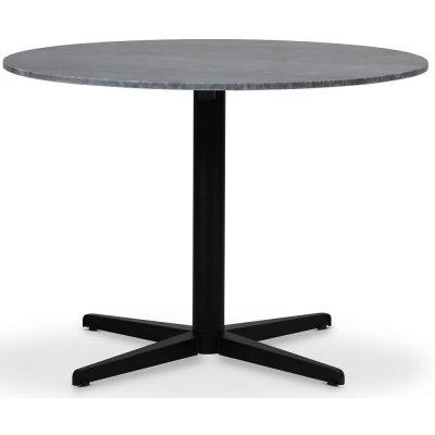 SOHO spisebord Ø105 cm - Matt svart kryssfot / Grå marmor