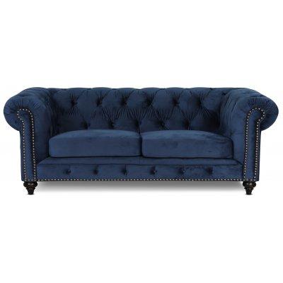 Chesterfield Montgomery 3-seter sofa - Blå fløyel