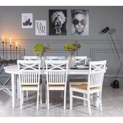 Gåsö spisegruppe: Bord 160/210 cm inkludert 6 Fårö stoler med kryss - Hvit/Eik