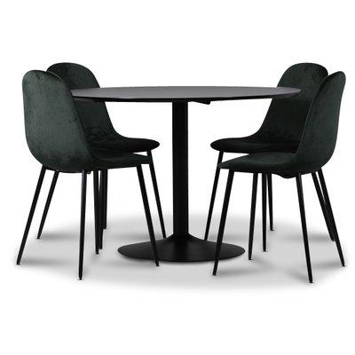 Seat spisegruppe, spisebord med 4 skt Carisma fløyelsstoler - Svart/Mørkgrønn