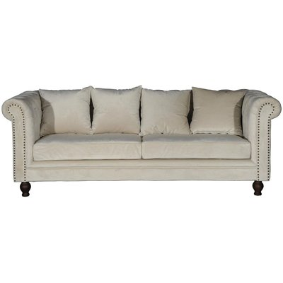 Chesterfield 3-seters sofa Churchill - Beige Fløyel