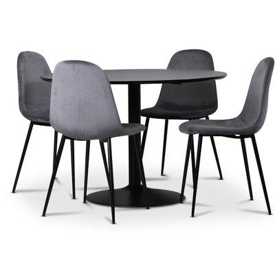 Seat spisegruppe, spisebord med 4 stk Carisma fløyelsstoler - Svart/Grå