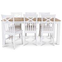 Dalarös spisegruppe 180 cm bord hvit/eik + 6 st Mellby spisestoler