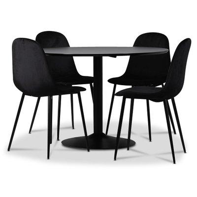 Seat spisegruppe, spisebord med 4 stk Carisma fløyelsstoler - Svart/Svart