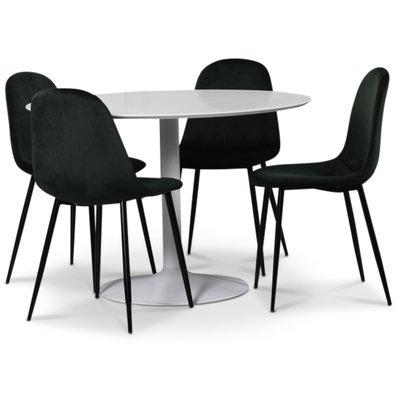 Seat spisegruppe, rundt spisebord med 4 stk Carisma fløyelsstoler - Hvit/Grønn
