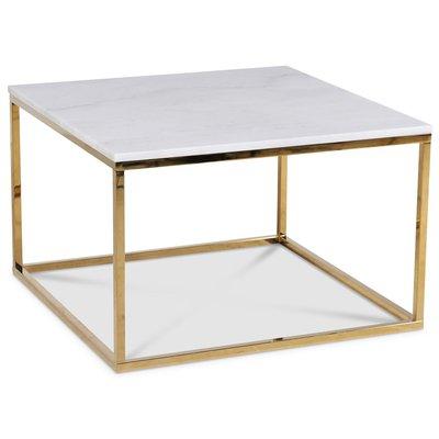 Accent stuebord 75 - Hvit marmor / Blank messing