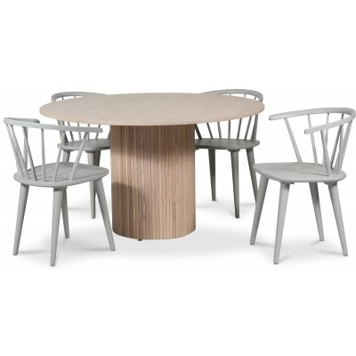 Pose spisegruppe: Bord Ø130 cm inkludert 4 stk Dalsland karmstoler - Whitewash