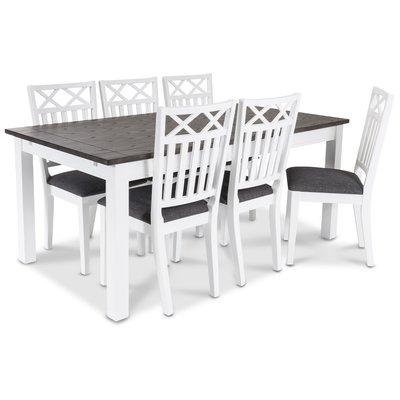 Skagen spisebord 180 cm - Hvit/brunoljet eik