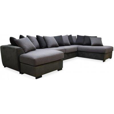 Delux U-sofa med åpen ende høyre - Grå/Antrasitt/Vintage