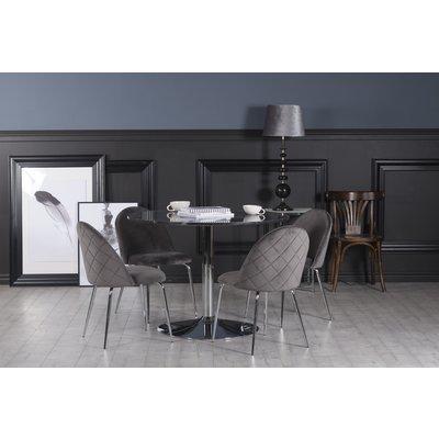 Plaza spisegruppe, marmorbord med 4 st Plaza fløyelstoler - Grå/Grå/Krom
