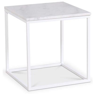 Accent lampebord 50x50 cm - Hvit marmor / Hvit