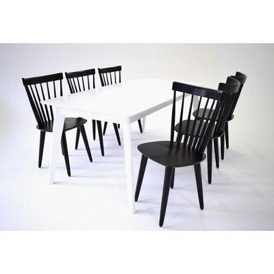 Sarek Spisegruppe - Bord inkludert 6 stoler - Hvit/ sort
