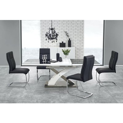 Bonita spisebord 160-220 cm - Hvit/sort