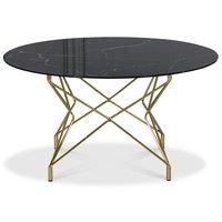 Sofabord Star 90 cm - Svart marmorert glass / messingsfarget understell