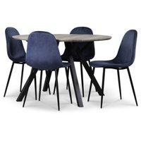 Smokey spisegruppe, rundt spisebord med 4 stk Carisma fløyelsstoler - Blå