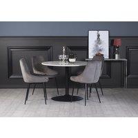 Plaza spisegruppe, marmorbord med 4 st Theo fløyelstoler - Grå/Hvit/Svart