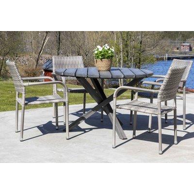 Scottsdale utespisegruppe med 4 stk karmstoler (stablebare) og spisebord Ø112 cm - Grå kunstrotting