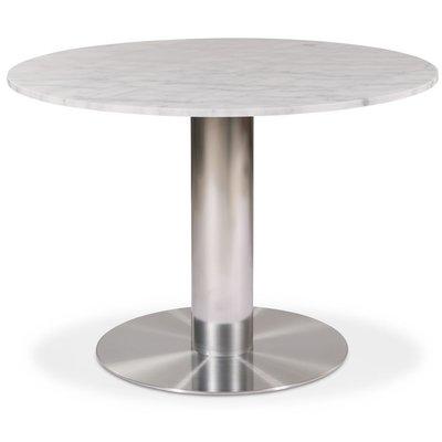 Next 105 rundt spisebord - Børstet stål / Marmor (Vit)
