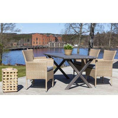 Scottsdale utespisegruppe med 4 stk lenestoler og spisebord 150 cm - Natur