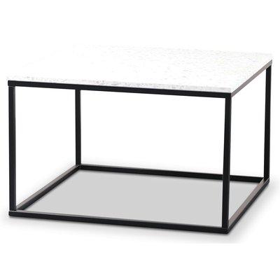 Terrazzo sofabord 75x75cm - Bianco Terrazzo & svart underdel