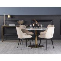 Plaza spisegruppe, marmorbord med 4 st Theo fløyelstoler - Beige/Hvit/Messing