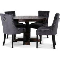 Lamier spisegruppe Bord med 4 stk. Tuva stoler i mørkegrått fløyel