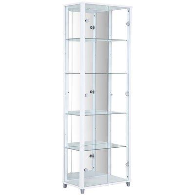 Optima vitrine & glasskap - Hvitt | 2 dører (med speilbakstykke)