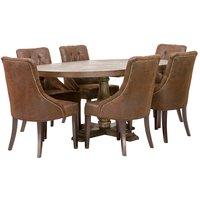 Spisegruppe: Lamier spisebord rundt + 6 st Tuva Europa stoler - mocca