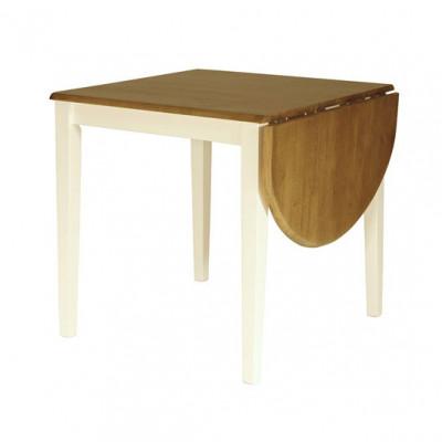 Brisbane spisebord - 75x75 - hvit/eik beis