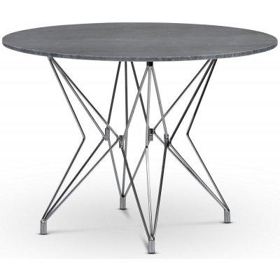 Zoo spisebord Ø105 cm - Krom / Grå marmor