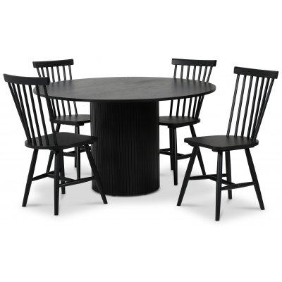 Pose spisegruppe: Bord Ø130 cm inkludert 4 stk Fårö pinnestoler - Svart