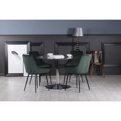 Plaza spisegruppe, marmorbord med 4 st Theo fløyelstoler - Grønn/Grå/Krom