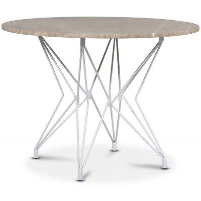 Zoo spisebord Ø105 cm - Hvit / Beige Empradore