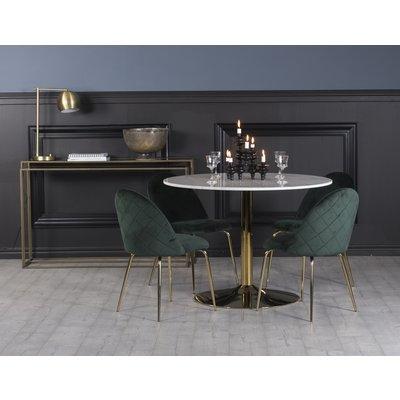 Plaza spisegruppe, marmorbord med 4 st Plaza fløyelstoler - Grønn/Hvit/Messing