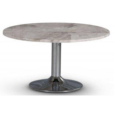 Empire spisebord - Sølv Diana marmor / Krommet trompetfot