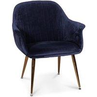 Flappy karmstol - Mørkeblå fløyel med messingbein
