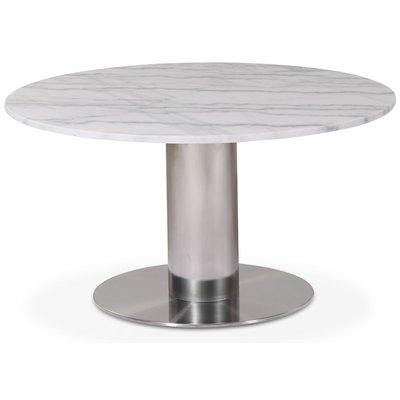 Next 85 rundt stuebord - Børstet stål / marmor (Vit)