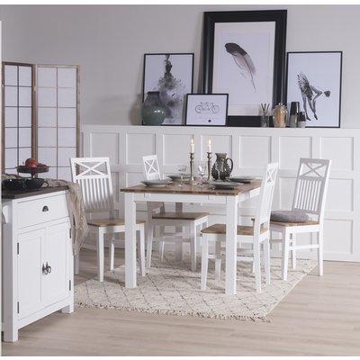 Dalarös spisegruppe 140 cm bord hvit/eik med 4 st stoler