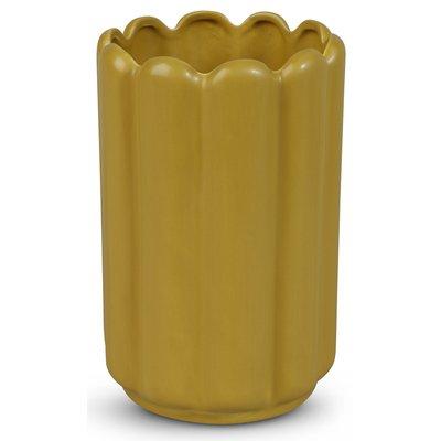 Vase Ribb H23 cm - Gul
