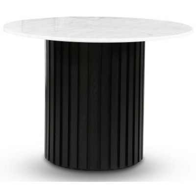 Sumo spisebord Ø105 cm - Svartbeiset / Lys marmor