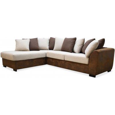 Delux sofa med åpen ende venstre - Brun/Beige/Vintage
