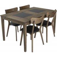 Habo spisegruppe inkl. 4 stk Ekeby stoler - Eik/granit