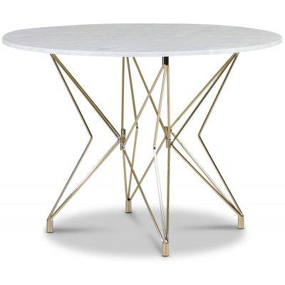 Zoo spisebord Ø105 cm - Messing / Lys marmor
