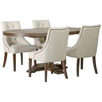 Spisegruppe: Lamier spisebord rundt - brun + 4 st Tuva Europa ver II stoler