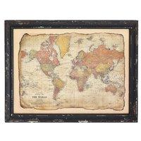 Bilde antikk Verldskarta - Sort ramme